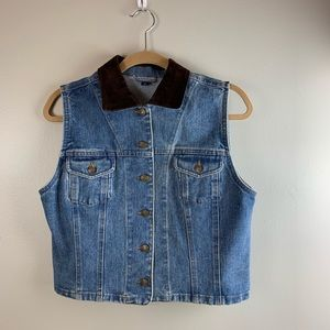 Old School Denim Vest w/ suede collar
